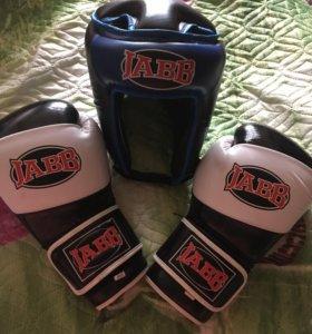 Перчатки и шлем для бокса. JABB
