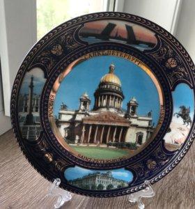 Оригинальная сувенирная тарелка Санкт-Петербург