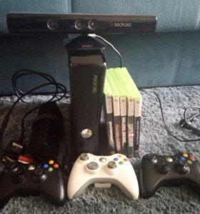 Xbox 360 + Kinekt + 3 гейпада + 5 игр