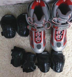 Продам роликовые коньки с защитой