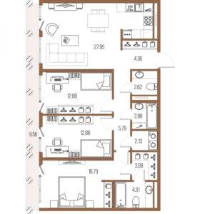 Квартира, 3 комнаты, 95.6 м²