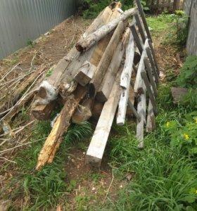 Брус и доски на дрова.