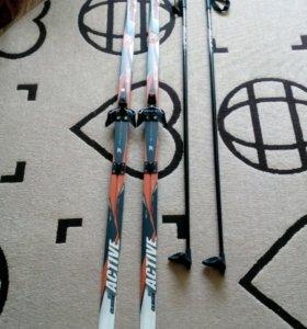 Беговые лыжи + лыжные палки + лыжные ботинки