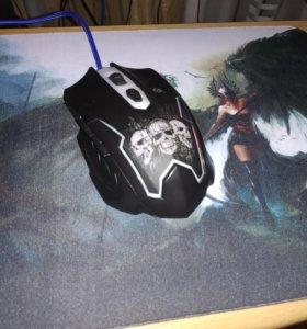 Игровая компьютерная мышь +коврик