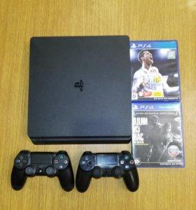 PS4 slim, 1TB, 2 геймпада, 19 игр