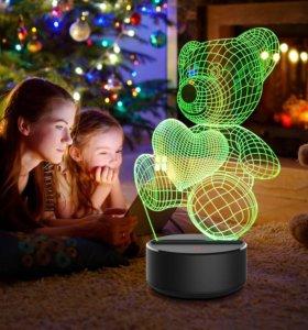 Ночник -светильник 3D с пультом дистанционного