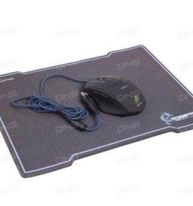 Мышь проводная Qumo с ковриком