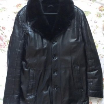 d0d943c0fe4 Пальто зимнее  Дубленка кожаная с норковым воротником