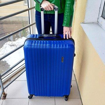 1157153a7b64 Средний пластиковый чемодан Baudet розовый M; Чемодан пластиковый синий (L)