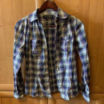 d0cf100f230 Рубашка в клетку с принтом XS  Рубашка в клетку Clockhouse