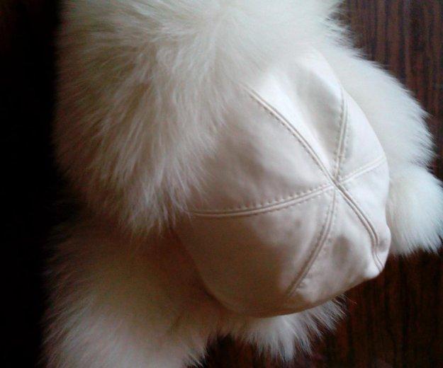 Кожаная белая шапочка! белый песец!. Фото 1.