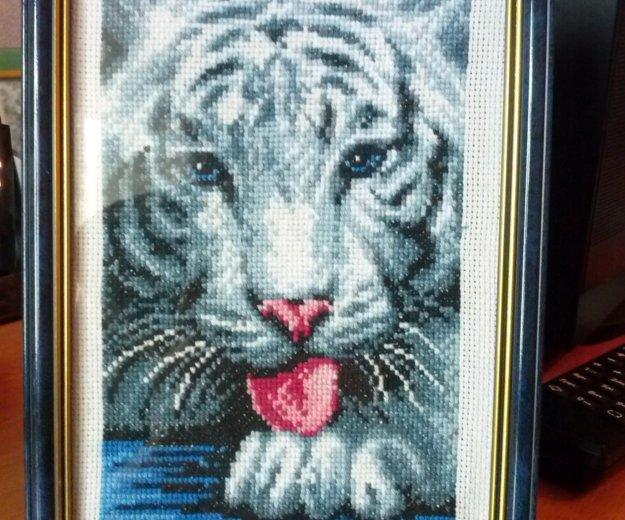"""Вышивка крестом """"белый тигр"""". Фото 1. Иркутск."""