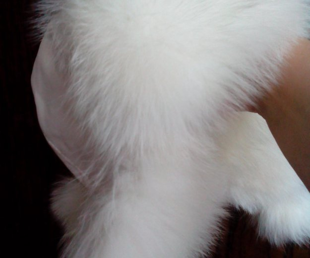 Кожаная белая шапочка! белый песец!. Фото 2.