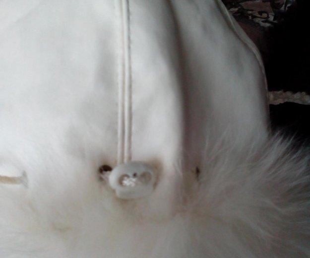 Кожаная белая шапочка! белый песец!. Фото 4.