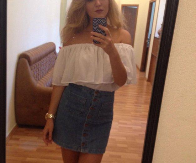 Блузка с воланом белая из шифона. Фото 4. Москва.
