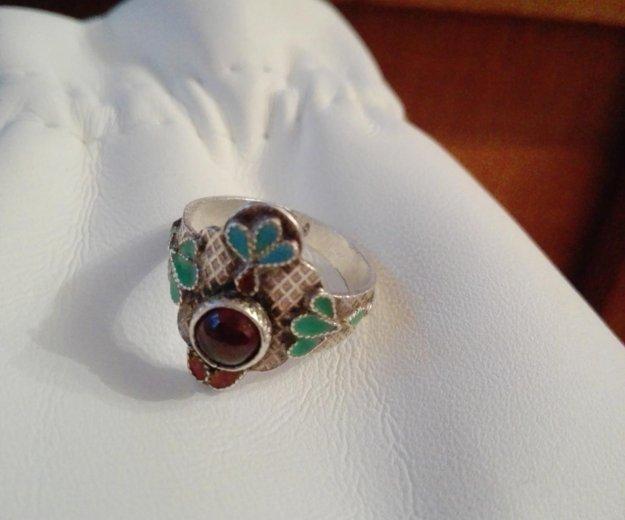 Кольцо серебро эмаль гранат. Фото 1. Москва.