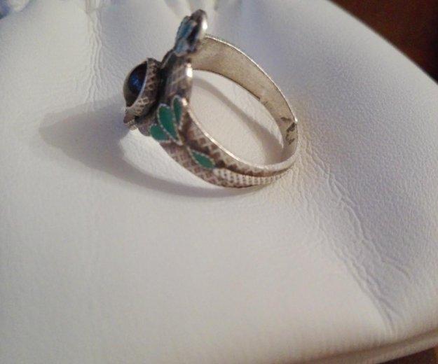 Кольцо серебро эмаль гранат. Фото 2. Москва.