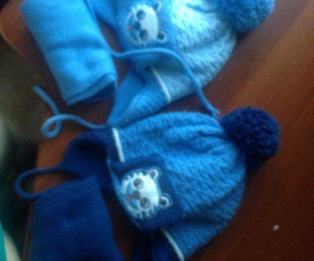 Шапка и шарф весна-осень для двойни. Фото 1. Ижевск.