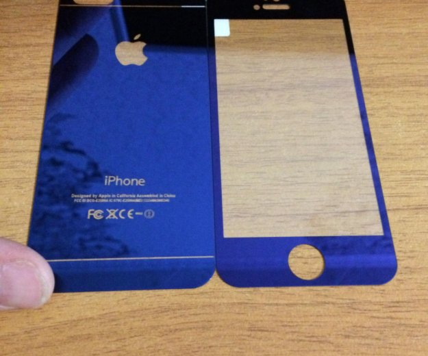 Стекло защитное (обе стороны) на айфон 5/5s/se. Фото 1. Радужный.