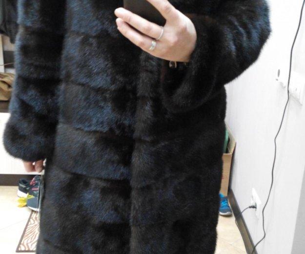 Новая норковая шуба поперечка 100 см. Фото 2.