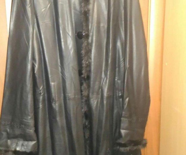 Кожанная куртка плащ большого размера. Фото 1. Москва.