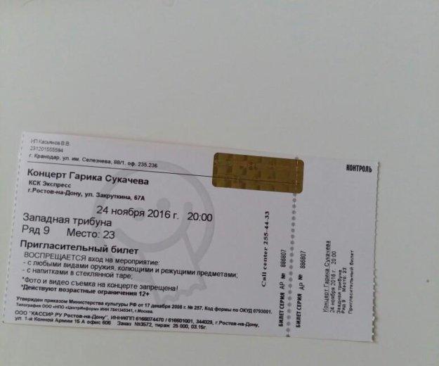 Билет на концерт гарика сукачева. Фото 1.