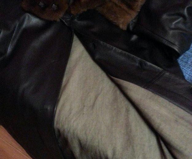Кожанное пальто с мехом норки. Фото 1. Москва.