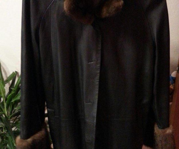 Кожанное пальто с мехом норки. Фото 2. Москва.