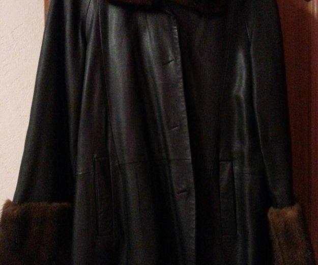 Кожанное пальто с мехом норки. Фото 3. Москва.