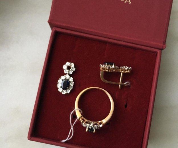 Золотой комплект сапфиры бриллианты. Фото 2. Железнодорожный.