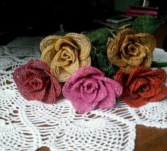 Цветы из бисера. Фото 2. Ильский.