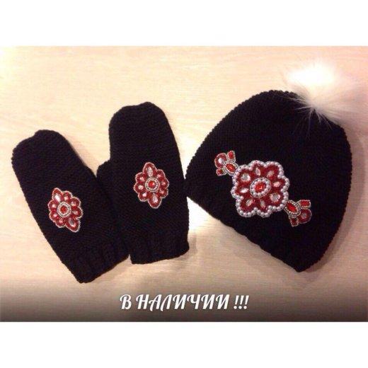 Комплект шапка и варежки. Фото 1. Кемерово.