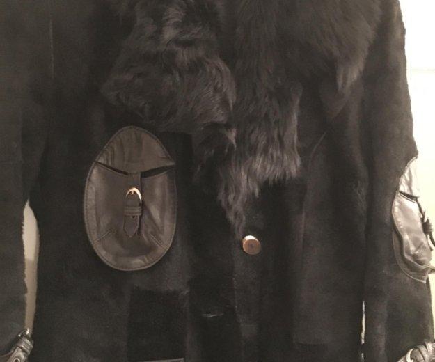 Дублёнка жен чёрная, натур овчина, размер 46. Фото 2. Московский.