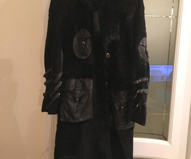 Дублёнка жен чёрная, натур овчина, размер 46. Фото 1. Московский.