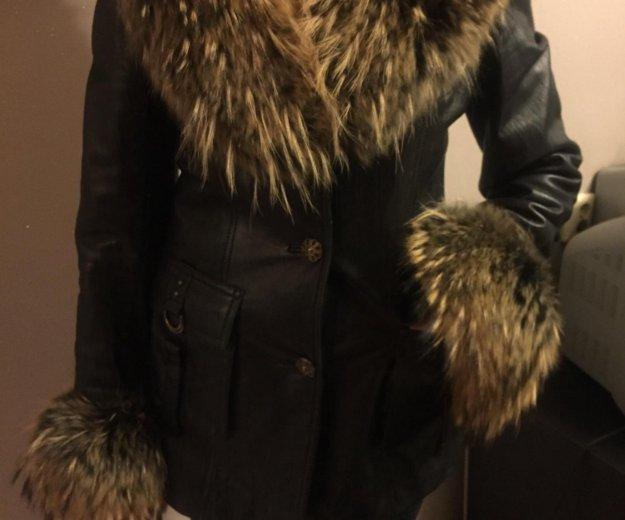 Зимняя кожаная куртка с мехом. Фото 1. Казань.