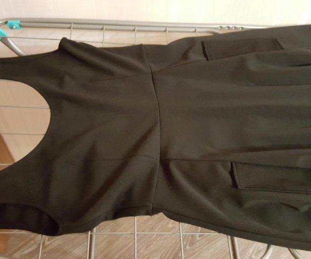 Платье бу черное длинное плотное. Фото 3. Москва.