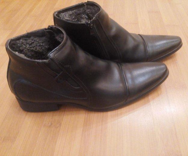Зимние классические кожанные ботинки. Фото 1.