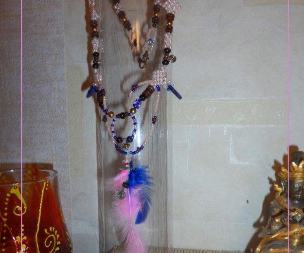 Колье розовое с перьями (бусы). Фото 2. Москва.