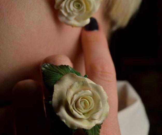 """Кольцо и серьги  """"розы белые"""". Фото 1. Москва."""