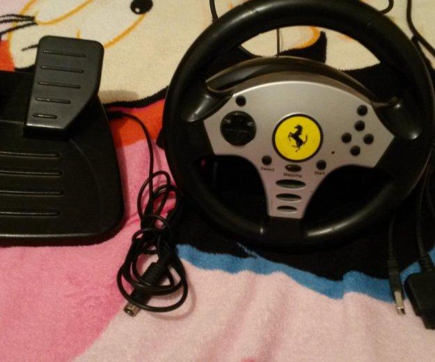 Руль и педали для видео игр. Фото 1.