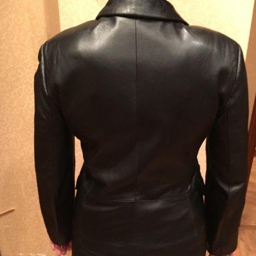 Кожаный чёрный пиджак. Фото 1. Москва.