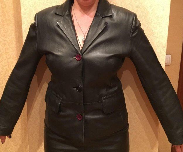 Кожаный чёрный пиджак. Фото 2. Москва.