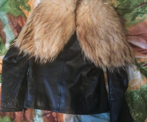 Кожаная куртка с мехом. Фото 2. Кемерово.