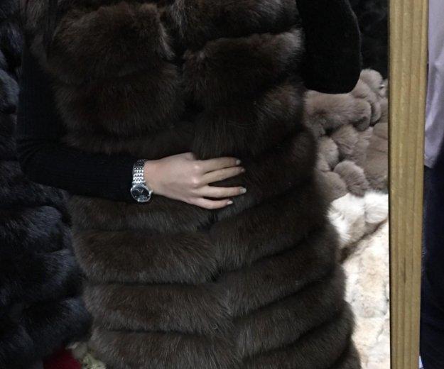 Поперечный жилет из песца, 90 см. Фото 2. Москва.