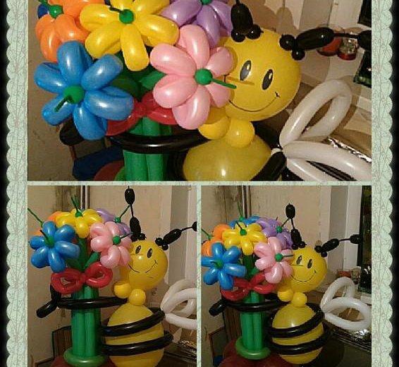Пчелка с букетом из воздушных шариков. Фото 3. Омск.