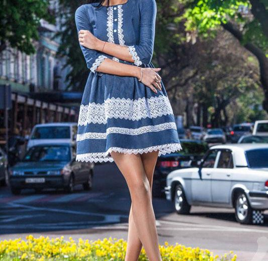 Новое джинсовое платье гепюр. Фото 1. Саранск.