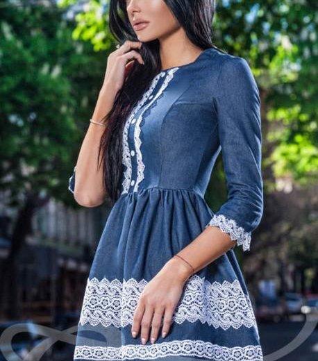Новое джинсовое платье гепюр. Фото 2. Саранск.