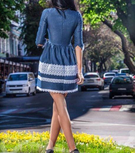 Новое джинсовое платье гепюр. Фото 3. Саранск.