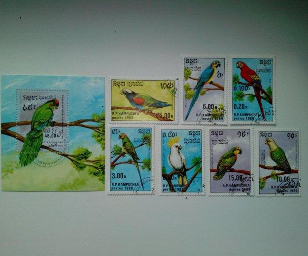 Марки кампучии 1989 попугаи. Фото 1. Владивосток.