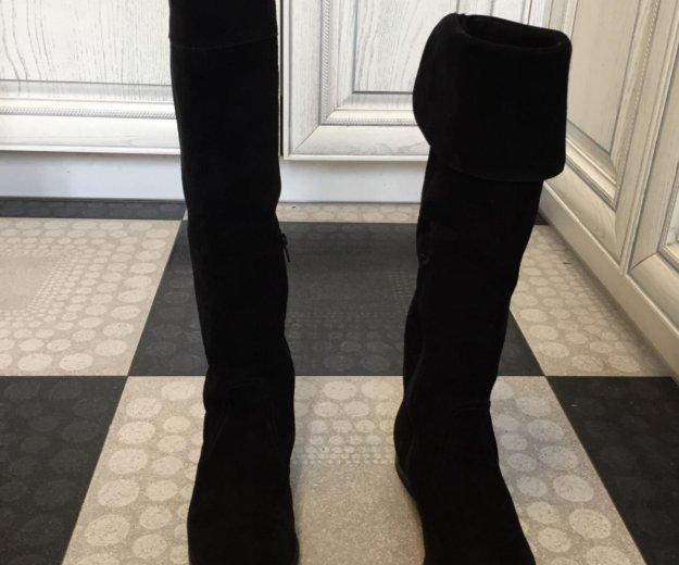 Осенние замшевые чёрные сапоги ботфорты. Фото 2.